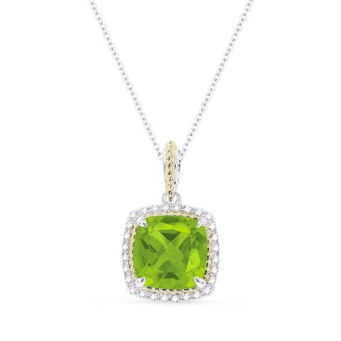 14k Two-Tone Gold Pendant-Necklace with 2.57-ct Cushion Green Peridot and 0.18-ct Round White Diamonds