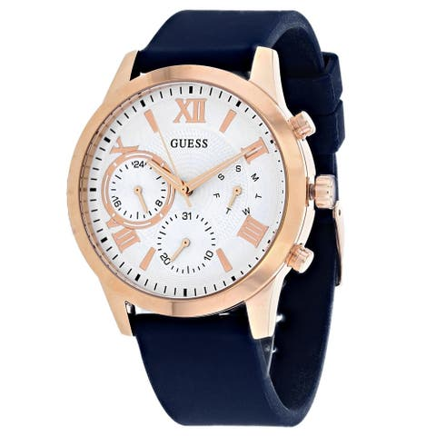 Guess Woman's W1265L1 Solar White Dial With Blue Silicone Strap - One Size