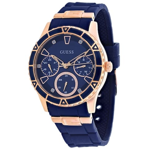 Guess Woman's W1157L3 Valencia Blue Watch With Silicone Strap - One Size