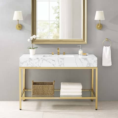 "Kingsley 50"" Gold Stainless Steel Bathroom Vanity"