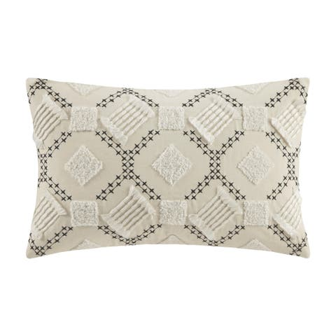 INK+IVY Chaaya Ivory/ Black Cotton Embroidered Oblong Pillow