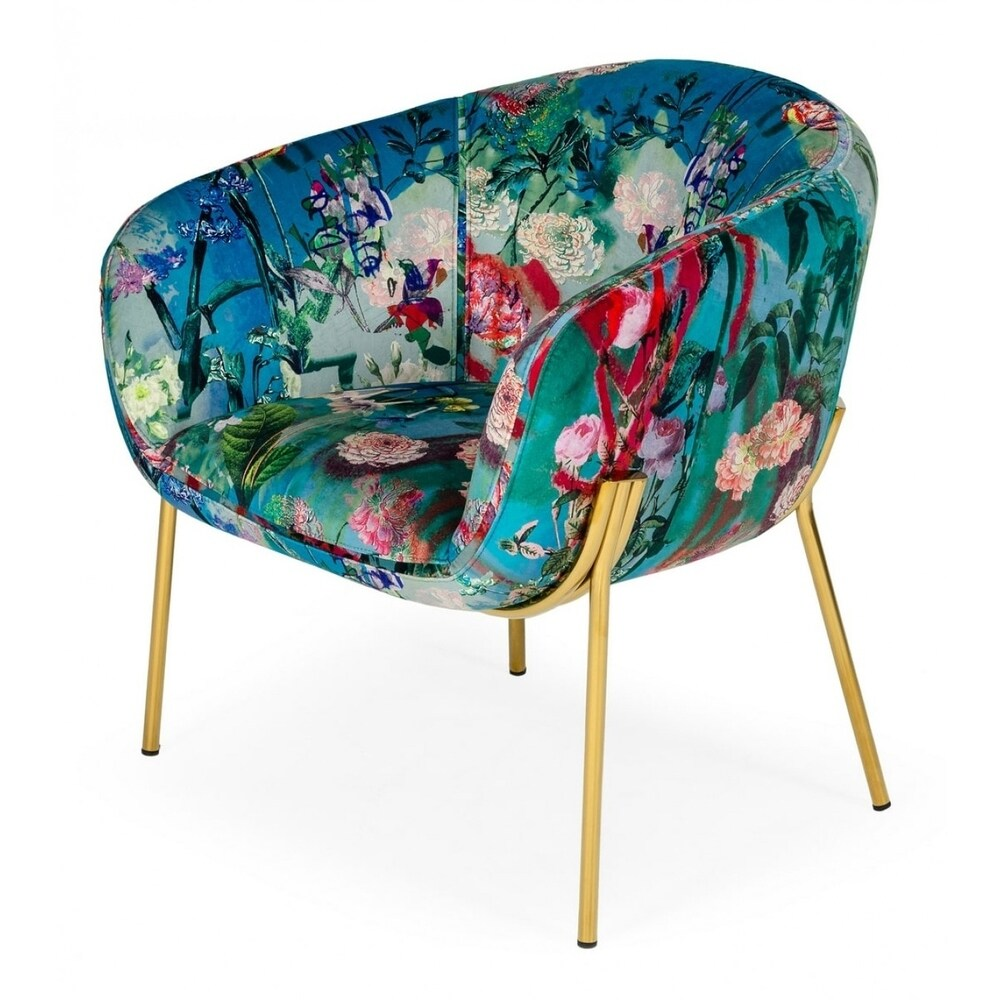 Modrest Falco Contemporary Floral Velvet and Gold Accent Chair