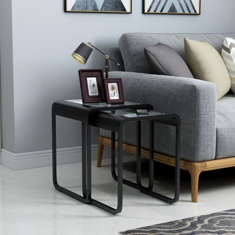 Furniture of America Roux Modern Black Metal 2-piece Nesting Table Set