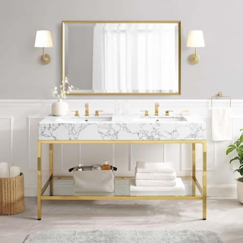 """Kingsley 60"""" Gold Stainless Steel Bathroom Vanity"""