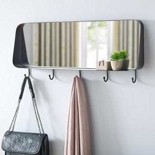 Carbon Loft Black Modern Industrial Mirror with Hooks