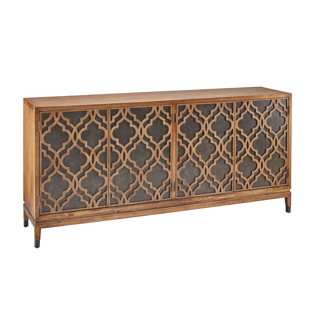 Berlinger 78″ Oak & Metal Carved Sideboard Server