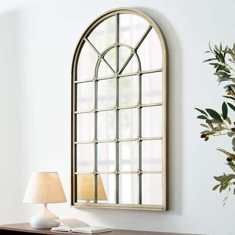 Copper Grove 50-inch Arched Windowpane Mirror
