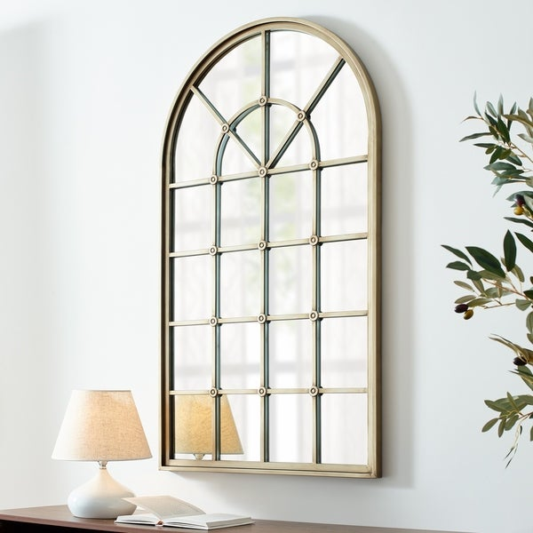 Copper Grove 50-inch Arched Windowpane Mirror. Opens flyout.