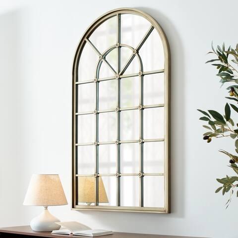 Copper Grove 50-inch Arched Windowpane Mirror