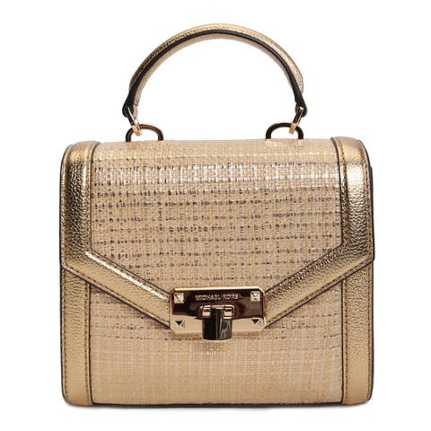 Michael Kors Womens Kinsley Extra Small Top Handle Satchel Natural Gold 35S9GYKS1M