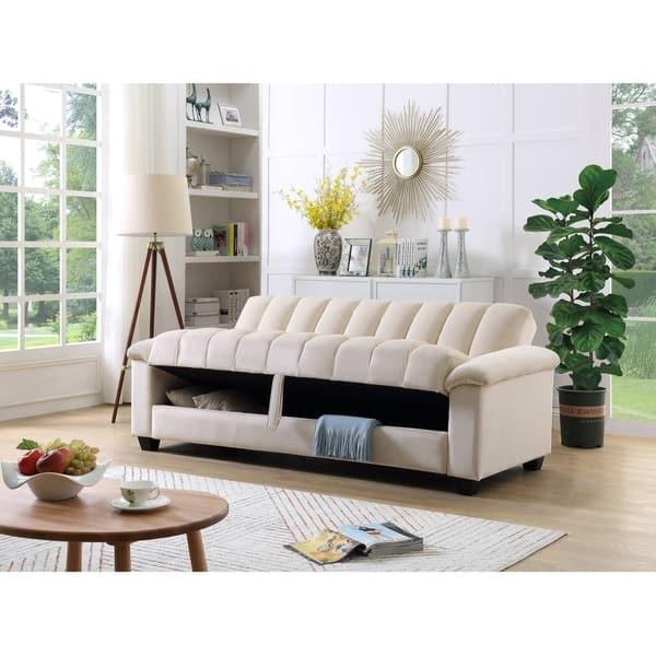 Shop Comfortable Velvet Storage Sleeper Convertible Sofa Bed Overstock 30944453