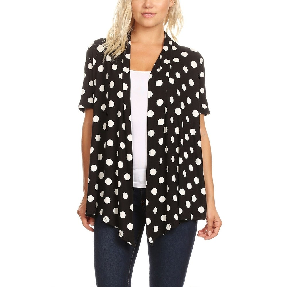 Womens Basic Short Sleeve Polka Dot Sweater Cardigan