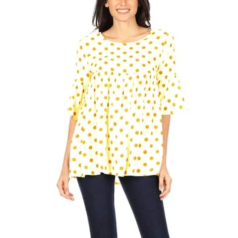 Women's Short Sleeve Babydoll Polka Dot Loose Blouse Tunic