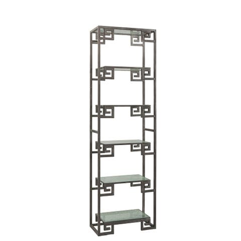 Kelton Grecian Style Scrolled Iron Display Case with Shattered Glass Shelves