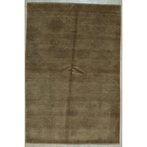Brown Transitional Ningxia Rug, 6'1' x 8'11' - 6'1' x 8'11'
