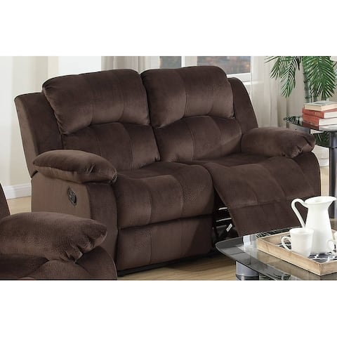Padded Suede/Metal Reclining Loveseat