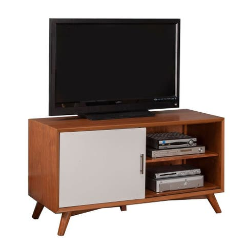 Flynn Small Wood TV Console in Acorn-White