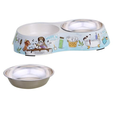 Certified International Doggy Day Spa Double Serve Pet Bowl and Insert