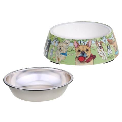 Certified International Dog Park Bamboo Fiber Pet Bowl with Insert