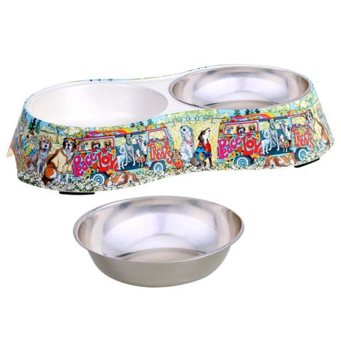 Certified International Peace, Love and Treats Double Serve Pet Bowl