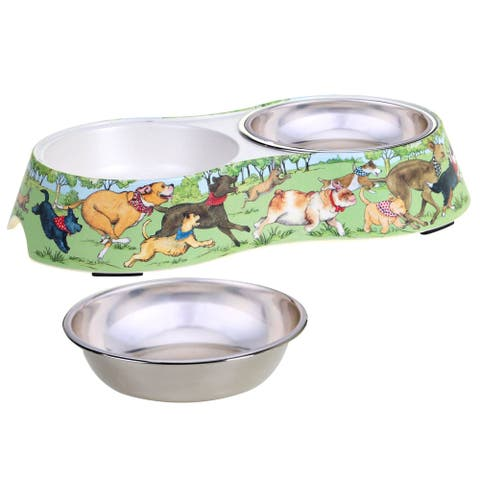 Certified International Dog Park Double Serve Pet Bowl with Insert
