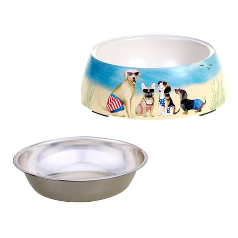 Certified International Hot Dogs Bamboo Fiber Pet Bowl with Insert