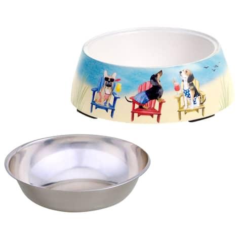 Certified International Hot Dogs Bamboo Fiber Pet Bowl with Insert