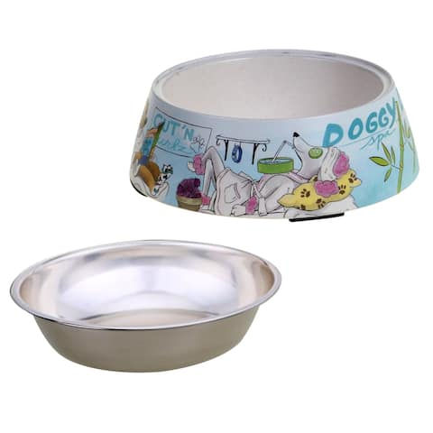Certified International Doggy Day Spa Pet Bowl with Insert