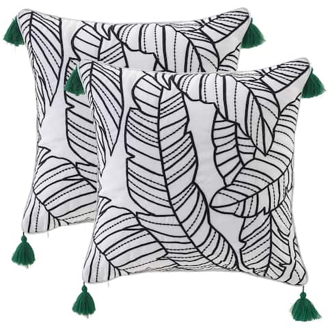 "Tropical Leaves Embroidered Outdoor Pillow Cover 17""X 17"",Set of 2"