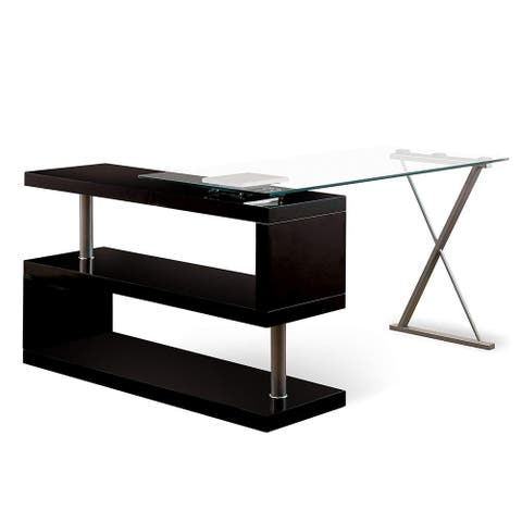 Movable Glass Top Desk with X Shaped Side Panel, Black and Clear