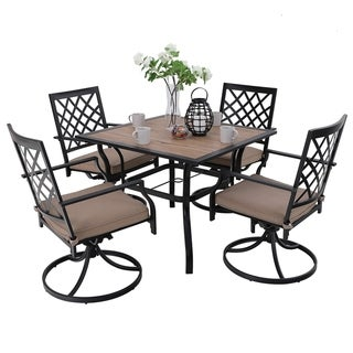 Link to PHI VILLA 5 Piece Outdoor Patio Bistro Swivel Chairs and Wood-Like Square Dining Table Furniture Set Similar Items in Dining Room & Bar Furniture