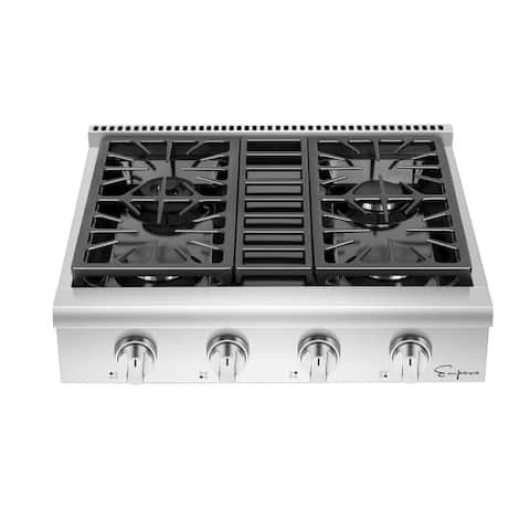 Empava 30 in. Pro-Style Professional Slide-in Natural Gas Rangetop with 4 Deep Recessed Sealed Burners in Stainless Steel