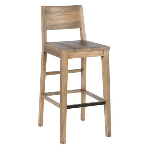 Reclaimed Wood Counter Stool with Cut Out Backrest, Distressed Brown