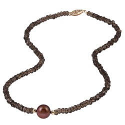 DaVonna 14k Gold Smokey Quartz and 10-10.5mm Brown Freshwater Pearl Necklace