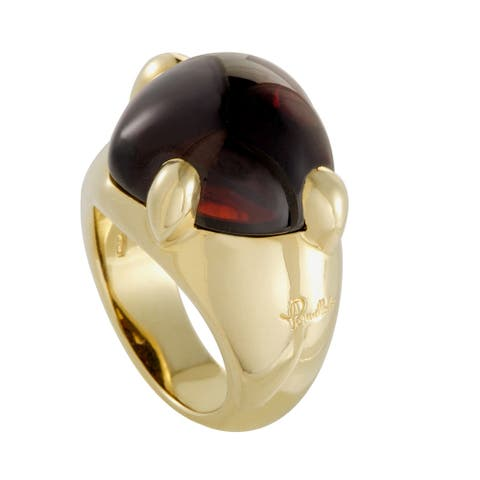 Pomellato Capri Yellow Gold and Garnet Cabochon Large Heart Ring Size 5.75