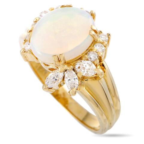 Yellow Gold Diamond and Opal Ring Size 5.75