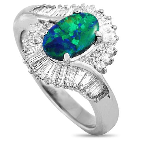 LB Exclusive Platinum Round and Baguette Diamonds and Opal Oval Ring Size 6.25