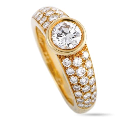 Cartier Yellow Gold Diamond Pave Engagement Ring Size 6