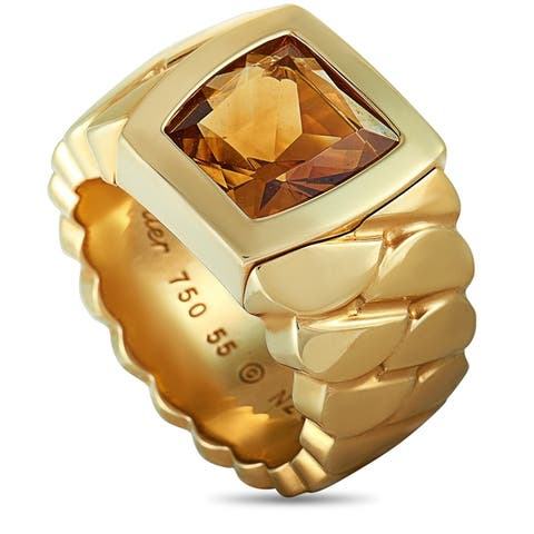 Cartier La Dona Yellow Gold and Citrine Band Ring Size 7