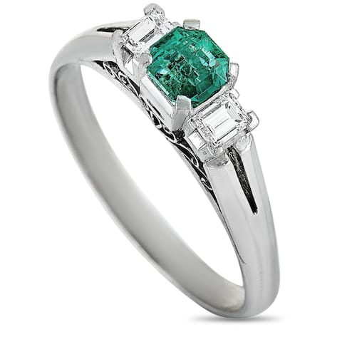 Platinum Diamond and Emerald Ring Size 7.75