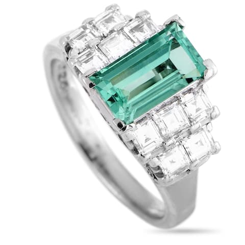LB Exclusive Platinum Diamond and Emerald Ring Size 7.25