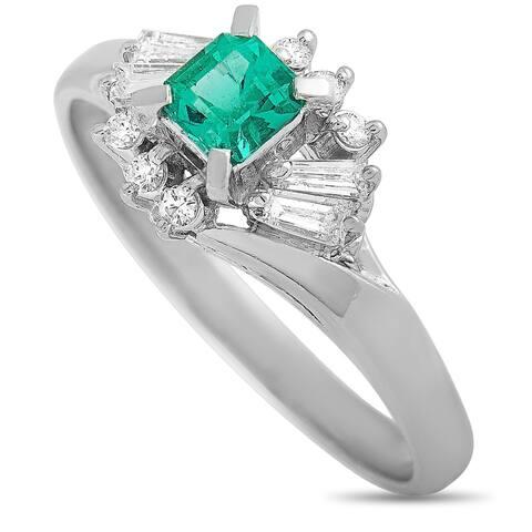 LB Exclusive Platinum Diamond and Emerald Ring Size 8.5