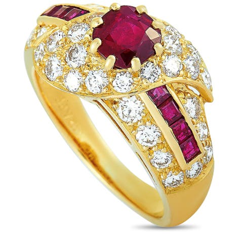 Graff Yellow Gold 1.10 ct Diamond and Ruby Ring Size 5.75