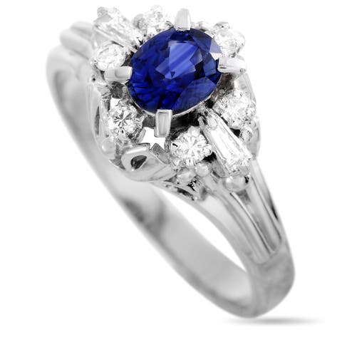 Platinum Diamond and Sapphire Ring Size 5.5 LB Exclusive