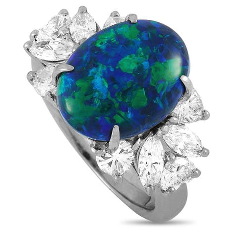 LB Exclusive Platinum 1.79 ct Diamond and Black Opal Ring Size 7.25