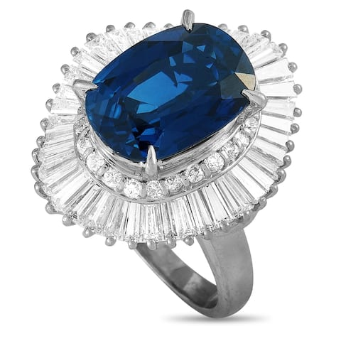 Platinum 2.36 ct Round and Tapered Baguette Diamonds and Sapphire Oval Ring Size 8 LB Exclusive