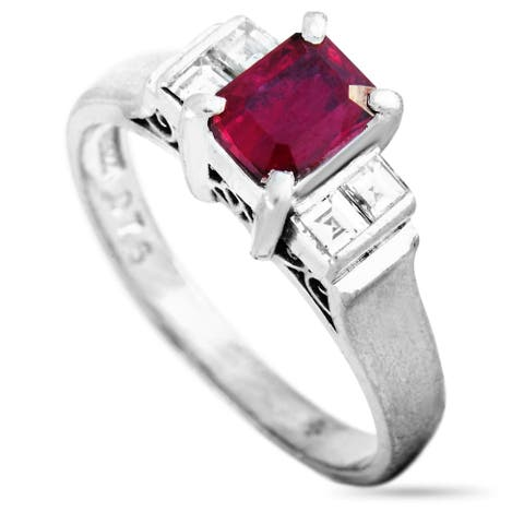 Platinum 0.21 ct Diamond and Ruby Ring Size 4.75 LB Exclusive