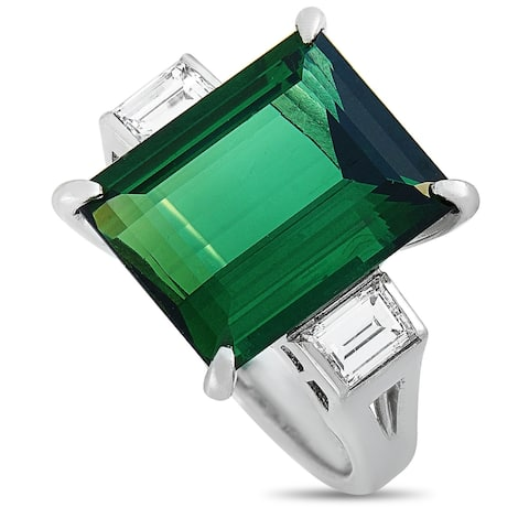 LB Exclusive Platinum 0.58 ct Diamond and Tourmaline Ring Size 5.5