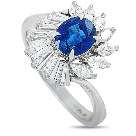 LB Exclusive Platinum 0.65 ct Diamond and Sapphire Ring Size 5.25