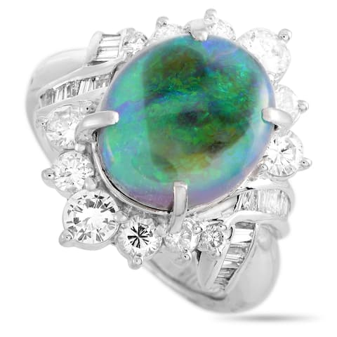 LB Exclusive Platinum 1.14 ct Diamond and Opal Ring Size 6